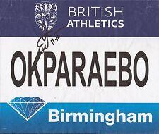 ATHLETICS: EZINNE OKPARAEBO SIGNED BIRMINGHAM DIAMOND LEAGUE 2016 WORN BIB+COA