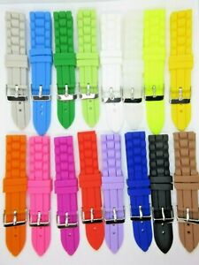 Silicone Sports Divers Watch Strap 16 Colours 4 Sizes 18mm 20mm 22mm 24mm