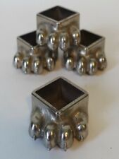 Set of 4 Vintage Fisher Inc Wood Burning Stove Silver Metal Claw Feet Mama Baby