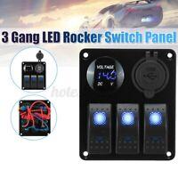 3 Fach LED Wipp Kipp Schalter Bedienfeld Auto Marine Boot Dual USB