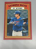 Anthony Rizzo 2021 Topps Heritage ⚾️ Red Border Parallel In Action #176 Cubs