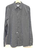 BANANA REPUBLIC Mens Shirt Large 16-16.5 Cotton Fitted Blue White Stripe Italy