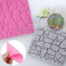3D Cobble Stone Silicone Wall Fondant Cake Mould Sugarcraft Decor Mold Tools Mat