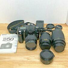 Nikon D D50 6.1MP Digital SLR Camera Bundle w/ 3 Nikon Lenses & Teleconverter