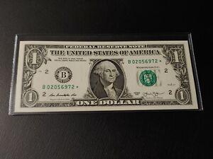 2013 B series $1 DOLLAR STAR NOTE B02056972* NEW YORK - **UNCIRCULATED**