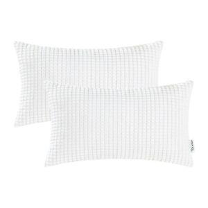 "2Pcs White Throw Bolster Pillows Cover Shells Corn Corduroy Striped Decor 12X20"""