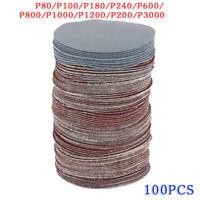 100pcs 7.6cm 75mm Crochet et Boucle Ponceuse Sablage Disques Patins 80-3000Grit
