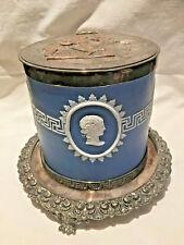 ANTIQUE MAPPIN & WEBB LONDON SILVER PLATED & JASPERWARE COOKIE JAR