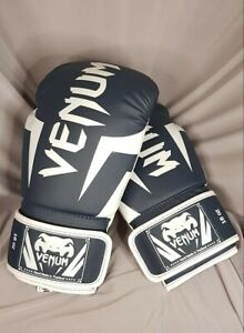Venum Elite Boxing Gloves. White / Navy Blue. 16oz