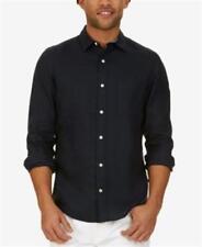 Nautica Long Sleeve  Button Down Linen Shirt Navy Mens Size Small New