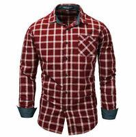 Blouse Fashion Men's Slim Fit Shirt Cotton Long Sleeve Shirts Casual Shirt Tops