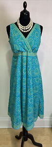 ANOKHI FOR EAST DRESS, 100% COTTON, SIZE 10, Turquoise / Green Print
