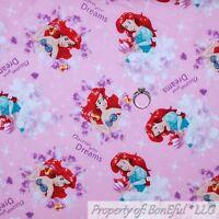 BonEful FABRIC FQ Cotton Quilt Pink Disney Ariel Princess Little Mermaid Girl NR