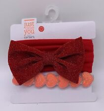 New Just One You Carters Headbands Baby Infant Red Bow Hearts Shimmery NEW