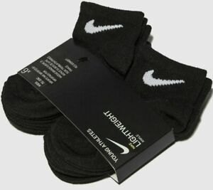 6 PAIRS NIKE JORDAN BOY GIRL LIGHTWEIGHT BLACK QUARTER Socks 4-5 Shoe 7C-10C $24