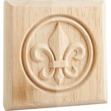 """Box of 4- Maple Wood- Fleur-de-Lis Rosette- 4"""" x 4"""" x 7/8""""-  # FDLROS3HMP"""
