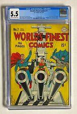 WORLD'S FINEST COMICS #7 DC 1942 CGC 5.5 Batman Superman Robin Cover