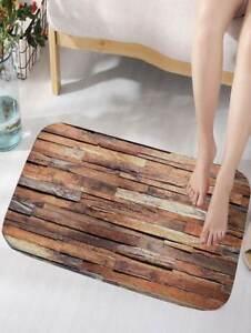 Uneven Wood Pattern Brown Color Bath Mat Toilet WC Antiskid Doormat Bathroom Rug
