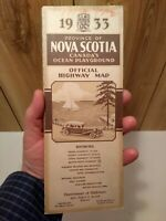 1933 Nova Scotia Canada Official Highway Map large color foldout good  cond.