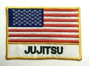 "Jiu Jitsu USA Patch Embroidered Flag Patch for JiuJitsu Uniform-4""x 2.75"""