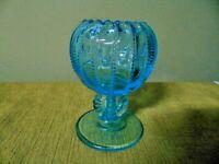 Vtg FENTON BLUE AQUA GLASS GOBLET VASE COMPOTE bowl beaded footed