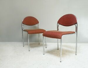Early 1980's mid century chrome upholstered chairs (price is for 1 chair)