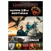 g019; Large personalised BIRTHDAY CARD; with Daenerys Targaryen Game of Thrones