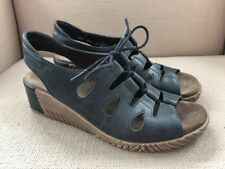 WOLKY FOGO BLACK LACE UP WEDGE SANDALS SIZE 39 (US WOMENS 8-8.5)