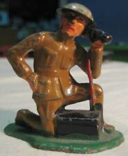 Old Lead Barclay Military Army Soldier Kneeling w/ Field Telephone - Tin Helmet