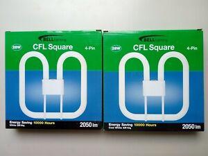 2 x BELL CFL Square 2D Bulb 28 W 4-Pin 835 White GR10q 3500K 2050Lm 04176