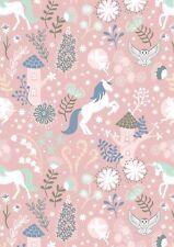 Lewis & Irene Glow In The Dark - Unicorn Forest Pink - Curtain/Craft Fabric