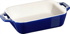 Staub ceramica piatto da forno stampo per dolci, rettangolare blu scuro 14x11 cm