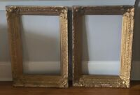Pair Antique Victorian Ornate Gold Wood & Gesso Carved Picture Frames - 14 x 22""