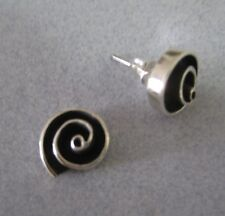 Mexican 925 Silver Taxco Infinity Circle Round Oxidised Modern Post Earrings