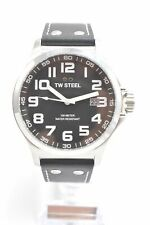 TW Steel TW409 Pilot Black Dial Stainless Steel Black Leather Men's Watch