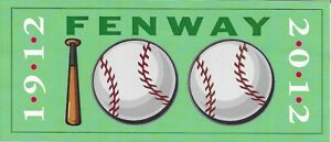 Fenway Park 100th Anniversary Sticker, 2012 - Boston Red Sox - Mint