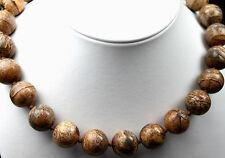 Halskette Kette Edelsteine Landschaftsjaspis Jaspis beige braun Kugel 16mm