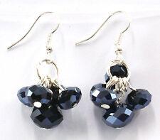 Black Crystal Glass Dropper Fashion Earrings