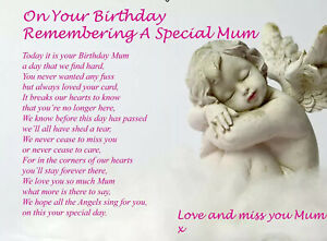 Mum Birthday Memorial Grave Laminated Card Graveside Remembrance Poem Grave.