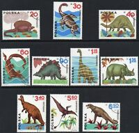 Poland 1965 Prehistoric Animals Full Fine Mounted USED Stamps Set