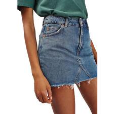 Women Summer Faded Denim Jeans Short Skirt Ripped High Waist Pencil Mini Skirts