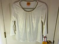 Woman's Ruby Rd size small petite embellished shimmer white 3/4 sleeve top