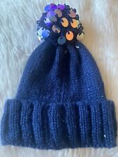 Claires Accessories Blue Pom Pom Beanie Hat Warm Blue
