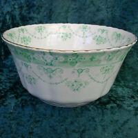 Vintage Art Deco Royal Albert Crown China Large Sugar Bowl Tea Green White 20s
