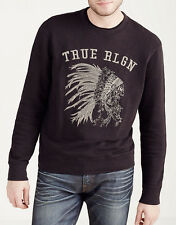 TRUE RELIGION Embroidery Logo Crew Neck Sweatshirt Pullover Black Cotton Sz 2XL