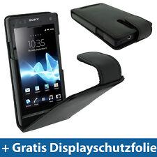 Schwarz Leder Tasche Case für Sony Xperia S Android Smartphone Hülle Skin Case