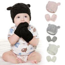 Newborn Baby Winter Warm Hat & Mitten Gloves Set - Boys Girls Knit 0-18 Months