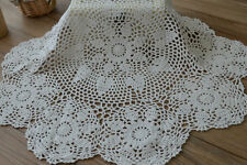 """26"""" Round Hand Crochet White Doily Floral Table Cloth Centerpiece Runner"""