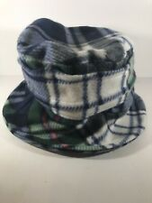Blue Green White Plaid Flannel Bucket Hat Cap Boonie Beach