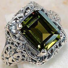 Hot Women's Men Emerald Wedding Engagement 925 Silver Ring Fashion Jewelry Size8